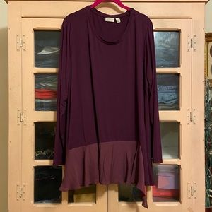 LOGO Purple Top w/ Asymmetrical Chiffon Hem Ruffle